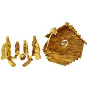 Olive Wood Large Nativity Set Figures And House 14 In Wide House Hardwood