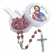 Jerusalem Rose Petals Rosary, Certificate In Two Languages Original From Flowers