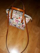 Fossil Butterflies Stamped Print Soft Leather Convertible Satchel Tote Bag