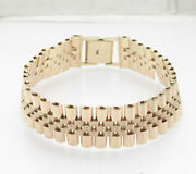 8.25 Mens Solid Rlx Panther Style Railroad Bracelet Real 14k Yellow Gold