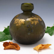 A Legras Acid Etched And Gilded Mulberry Vase C1925