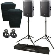 """2 Das Vantec 15a 15"""" Two-way Powered Speakers With Stands And Covers"""