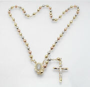 5mm 20 Guadalupe Medal Cross Rosary Chain Necklace Real 10k Tricolor Gold