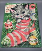 Saalfield Christmas Tray Puzzle - 7051 - Cute Blue Eyed Kitten In Stocking