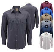 Menandrsquos Casual Western Pearl Snap Button Down Long Sleeve Cowboy Dress Shirt