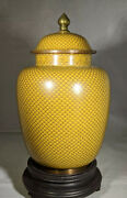Rare Antique Chinese Cloisonnandeacute Fish Scale Style Yellow Urn/vase
