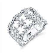 Diamond Star Ring 14k White Gold Womens Wide Cocktail Right Hand Round Cut Open