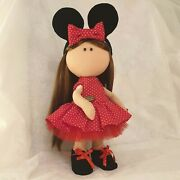 Minnie Mouse Handmade Interior Doll W/ Double-sided Dress And Removable Clothes