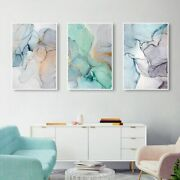 Modern Simplicity Blue Marble Abstract Canvas Painting Nordic Posters Home Decor