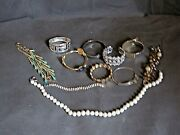 Costume Bracelets Lot Of 10 And Pearl Necklace