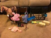 American Girl Doll Horse Sets 2 Horses 2 Stables All Horse Accessories+2 Outfits