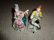 Baroque Victorian Style Man Woman Figurines Occupied Japan Lady Playing Music
