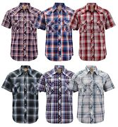 Menandrsquos Western Short Sleeve Button Down Casual Plaid Pearl Snap Cowboy Shirt