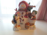 Vtg Holiday Time Ceramic Christmas Snowman Baby Penguin Gingerbread Cookie Jar
