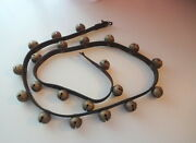 Old Original Leather Strap 21 Brass Sleigh Horse Bells Christmas Farm Patented