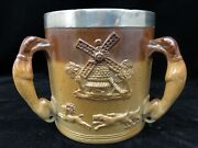 Antique Stoneware Tyg 1870 Hunting Scenes Silver Band 3 Handled Drinking Mug Cup