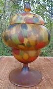 Vintage Multicolored Satin Art Glass Candy Dish Pedestal Psychedelic Mod