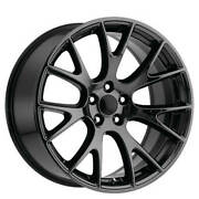 4ea 22 Challenger Hellcat Wheels Fr 70 Black Chrome Oem Replica Rimss1