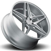 4ea 22 Staggered Blaque Diamond Wheels Bd-8 Silver With Polished Rims S7