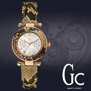 Guess Gc Collection Rose Gold,taupe Olive Python Leather Band Watch X35006l1s