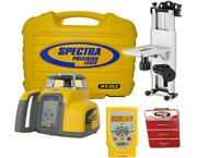 Spectra Precision Hv302 Rotary Laser Level W/ Remote Wall Mount Target Nimh