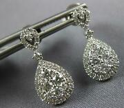 Estate 0.87ct Diamond 18kt White Gold Classic Cluster Tear Drop Hanging Earrings