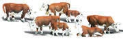 Woodland Scenics N Scale Scenic Accents Figures/animal Set Hereford Cows 7