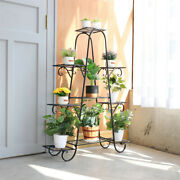 Extra Large 9 Pots Metal Rack Flowers Plant Stand For Garden Succulent 4ft Tall