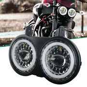 For Buell Xb9s Xb12s 03-2010 Years Motorcycle Dual Led Headlight White Drl Halo