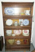 Antique Macey Oak 4 Tier Stacked Barrister Bookcase Glass Doors