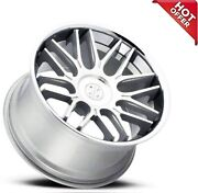 4ea 22 Staggered Blaque Diamond Wheels Bd-27 Silver Machined With Chrome S10