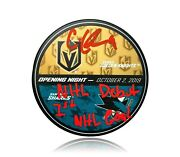 Cody Glass Signed Inscription 1st Goal And Nhl Debut Vegas Matchup Puck Bas Coa