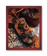Old Fly Fishing Rod And Antique Reels Lures Wall Picture Cherry Framed Art Print