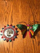 2 Vtg Punched Tin Christmas Ornamentsfolk Art Butterfly And Mirrored Sun
