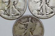 Two 1919-s Ag And One 1918-p Fine Liberty Walking Silver Half Dollar Num4332