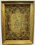 Antique French Hand Embroidered Needlepoint Tapestry Circa 1750 Gold Gilt Frame