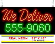 We Deliver With Phone Number Neon Sign | Jantec | 32x 16 | Pizza Diner Takeout