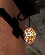 4 Sided Stained Acrylic Glass Fixture With Lamps On Each Side