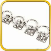 4 Steel Stainless 6mm Square Eye Plates W Ring 1/4 Marine 316 Ss Boat Rigging