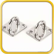 2 Stainless Steel 316 6mm Square Eye Plates 1/4 Marine Ss Pad Boat Rigging New