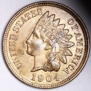 1904 Indian Head Small Cent Choice Bu Red Free Shipping E165 Aet