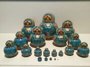 20 Piece Nesting Dolls Russian Matryoshka In Teal And Gold With Purple Orchids