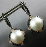 1.64ct White And Black Diamond And South Sea Pearl 18kt Black Gold Hanging Earrings