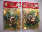 2 Unopen Vintage Christmas 60and039s 70and039s Plastic Holly Spray Gift Card Decorations