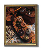 Old Fly Fishing Rod And Antique Reels Lures Wall Picture Gold Framed Art Print