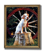 Pointer Puppy Dog In Wagon Kids Room Animal Wall Picture Gold Framed Art Print