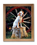 Pointer Puppy Dog In Wagon Kids Room Animal Wall Picture Honey Framed Art Print