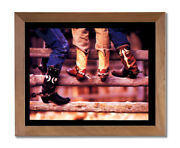 Old Cowboy Boots And Spurs Western Rodeo Wall Picture Honey Framed Art Print