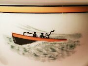 Chris-craft Vtg Mayer China Covered Lobster Bisque Soup Bowl Woody Lake Boat Art