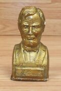 Small 4 Gold Tone Abraham Lincoln President Collectible Plaster Desk Bust